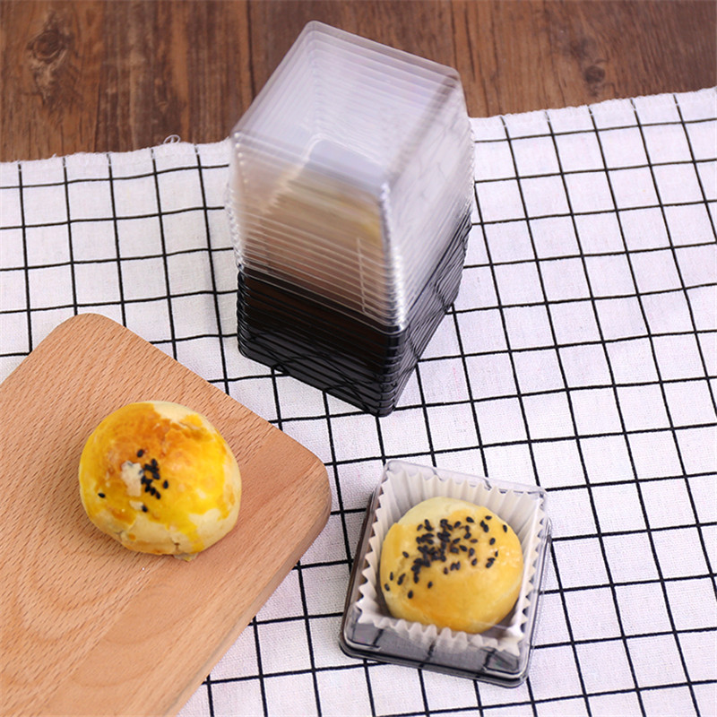 50pcs Mini Clear Plastic Cupcake Boxes Cake Packaging Boxes Muffin Pod Dome Box Baking Tools For Wedding Party 50g/80g/100g