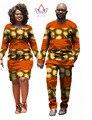 African Print Dresses Dashiki Shirt Men Couple Clothes for Lovers Two Piece Set Dress Women Long Sleeve Bodycon Dress 6XL WYQ08