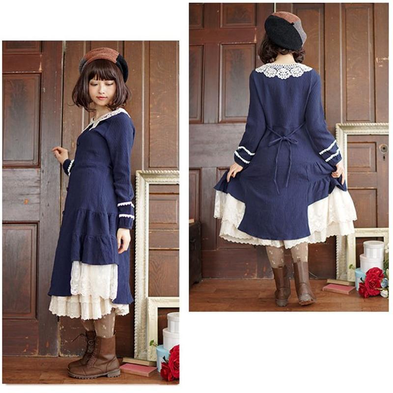 Lolita Longues Robe À Peter Mori Vrille Doux Robes T636 Fille Coton Blue Solide Manches Fleur Col Dames Dentelle Bleu Pan Tricoter Femmes 66qXrw