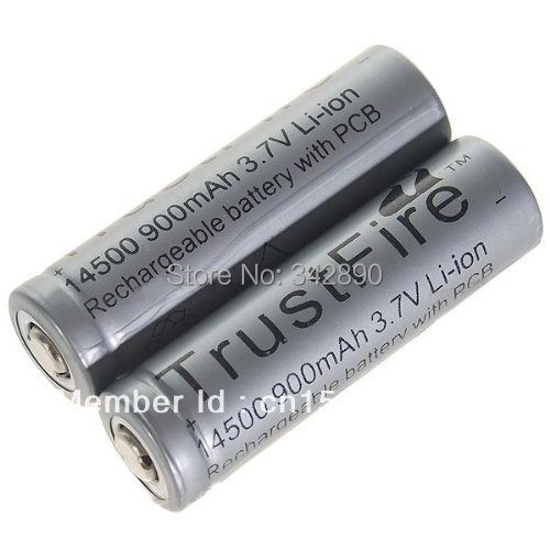 2Pcs TrustFire 14500 3.6V 900mAh Rechareable Lithium Batteries with PCB ...