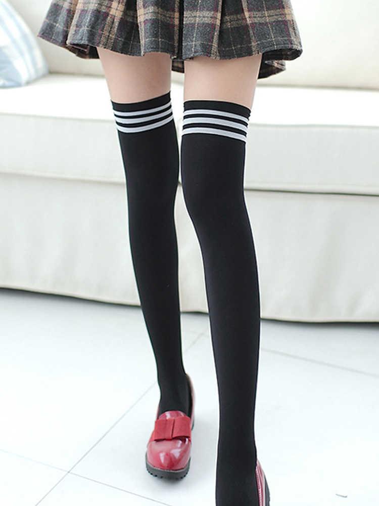 1 par meninas estudante escola meias moda casual coxa alta sobre o joelho meias altas meninas das mulheres do sexo feminino longo joelho meia