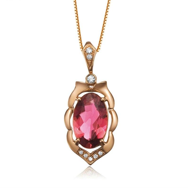 GVBORI 18 К розового золота, драгоценных камней Цепочки и ожерелья подвеска с бриллиантом Ювелирные украшения Валентина элегантность украшений для Для женщин Обручение
