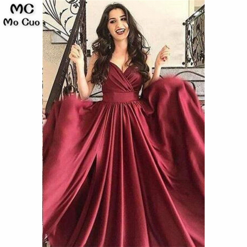 Burgundy In Stock   Evening     Dresses   Long Spaghetti Straps Pleat V-Neck Women's   Evening     Dress   Satin Backless Prom   Dress   Custom Made