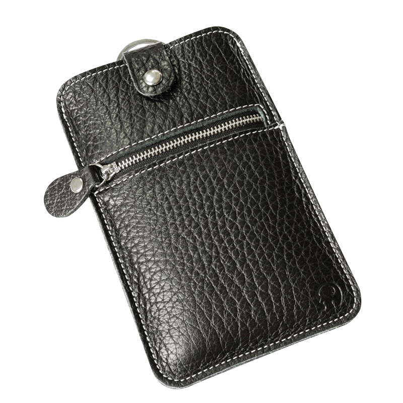 Genuine Leather Mens Wallets Long Coins Purse Zipper&Hasp Casual Key Ring Slots Phone Bag for Male Cards Holder Pockets Walet