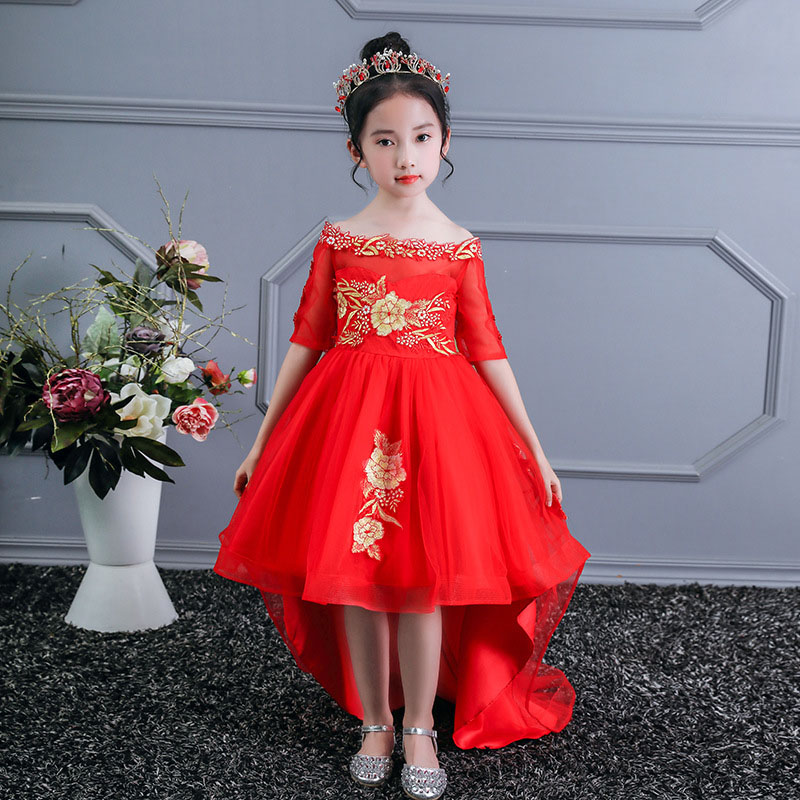 High-quality Girls Formal Wedding Party Back-to-back Dress Flower Girl's First Shoulder-tailed Dress For The Eucharist Party