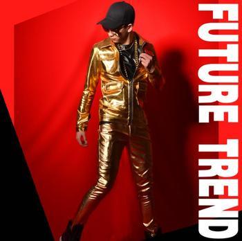 Personalized motorcycle mens leather jacket slim golden multi-pocket coat men jackets jaqueta de couro stage street dance singer