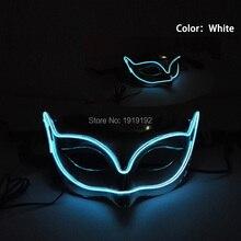 EL wire Masks Halloween Green Fox Mask luminous helmet Fire Festival LED Glowing Party DJ dance Carnival Masks accessories