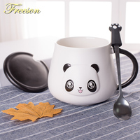 Lovely Panda Porcelain Mug With Spoon Lid Coffee Cup Cartoon Coffee Milk Tea Mug Cute Ceramic Tumbler Funny Beer Drinkware