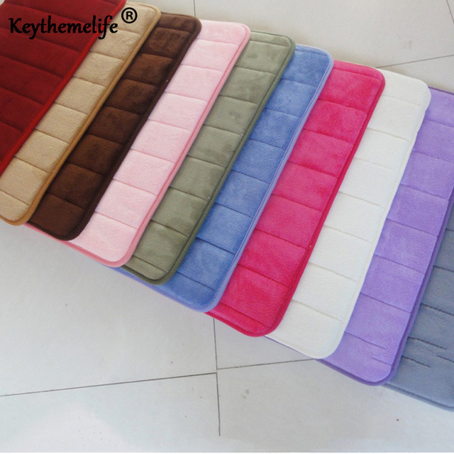 Keythemelife Non-slip Bath Mats 40x60cm Memory Foam Bathroom Horizontal Stripes Rose red red pink green blue coffee 10 color BA