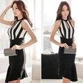 Damas 2015 Nueva Llegada Vestido atractivo de Las Mujeres del recorte de la raya de cola de pescado delgada Vestido de una sola pieza