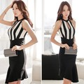 Ladies 2015 New Arrival Dress Women sexy cutout stripe slim fish tail one-piece Dress