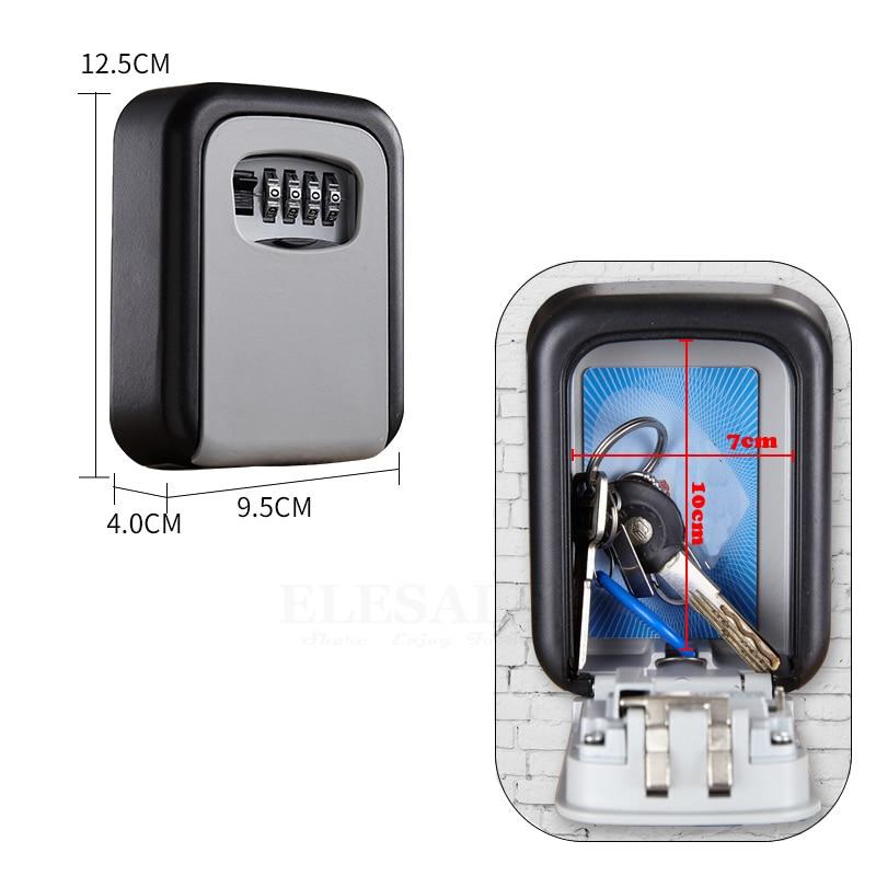 Wall-Mounted Hidden Key Safe Box Secret Storage Organizer Combination Password Lock Home Garage Apartment Car Spare Keys Safe