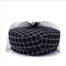 Классический Клетчатый берет для женщин, зимняя сетчатая пряжа, восьмиугольные шляпы, элегантные утолщенные береты, шапка художника для женщин