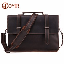 JOYIR Fashion Simple Business Men Briefcase Handbag Crazy Horse Genuine Leather Laptop Bag Casual Man Tote Travel Messenger