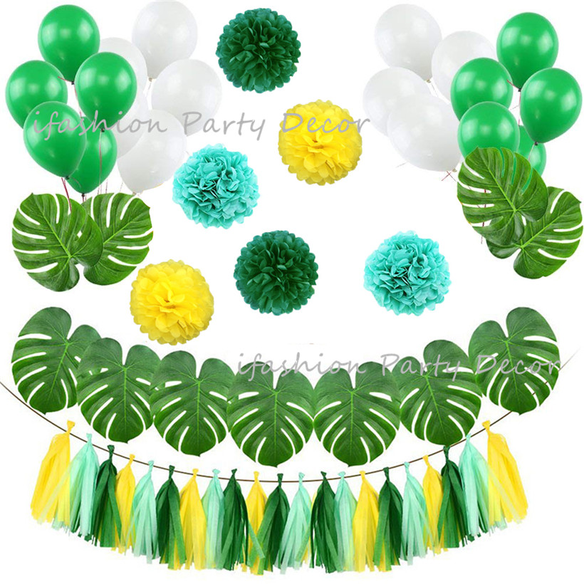 Gold Wild One Foil Balloon Banner Paper Pompoms Tassel Garland Artificial Palm Leaves 1st Baby Birthday Party Decorations
