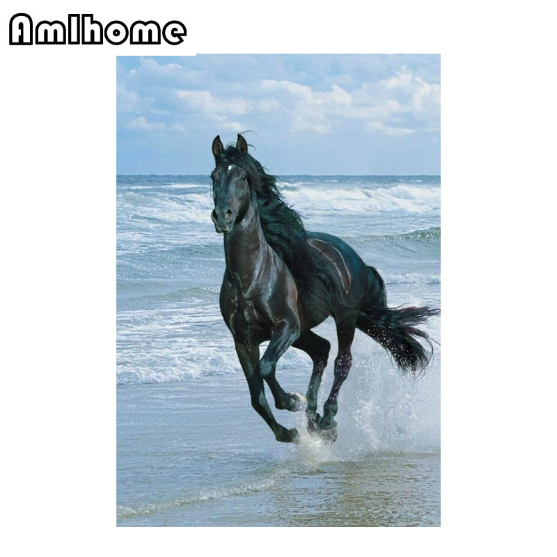 AMLHOME NEW 5D DIY Diamond Painting Horse Embroidery Diamond Painting Cross Stitch Arts Crafts Rhinestone Mosaic Painting HC0943