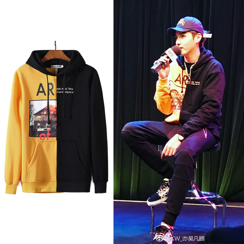 WXCTEAM EXO Kris Hoodie Kris Same Style Hip Pop Unisex Cap Sweatshirt Harajuku Casual Jumper Pullover Long Sleeved KPOP