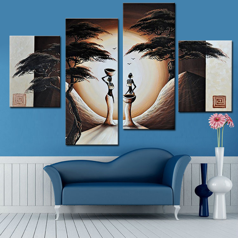 abstract landscape oil painting african women paintings 4 panel