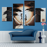 Abstract Landscape Oil Painting African Women Paintings 4 Panel Canvas Art Hand Painted Modern Canvas Painting for Home Decor