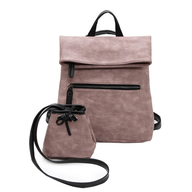 Vintage Leather Backpack Women High Quality Leather Backpacks with Small Pocket Large Black Pink Rucksack Girls mochila XA622H