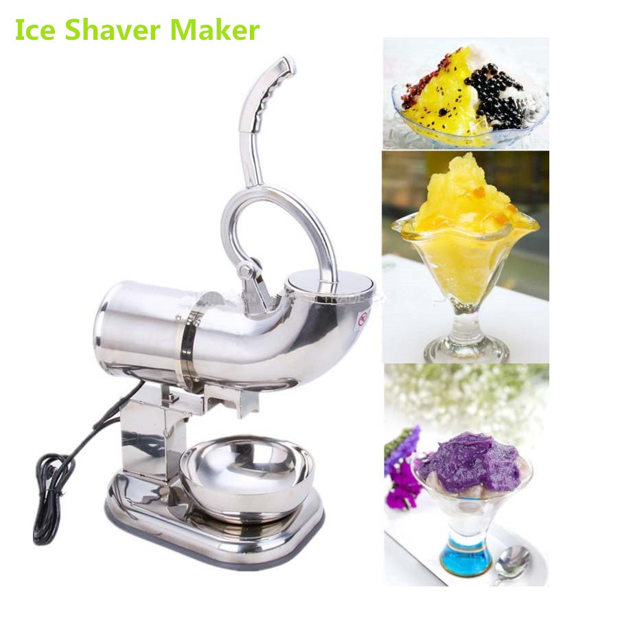 все цены на High Quality 180 kg/H Double-blade 110V 220V Electric Stainless Steel Snow Cone Machine Ice Shaver Maker Ice Crusher Maker онлайн