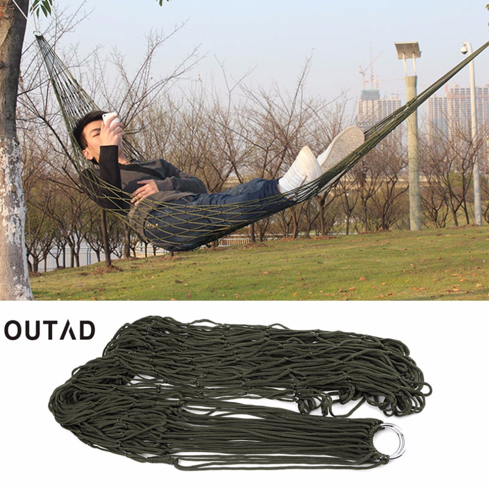 OUTAD Nylon Mesh Hammock swing Sleeping Bed Nylon Hang Mesh Net Furniture for Garden Outdoor  Travel camping hunting hiking 2017 portable nylon garden outdoor camping travel furniture mesh hammock swing sleeping bed nylon hang mesh net