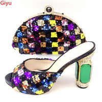 doershow new coming colorful Shoe And Bag Set African fashionShoe And Bag Sets Italy Women Shoe And Bag To Match For party!KI1 2
