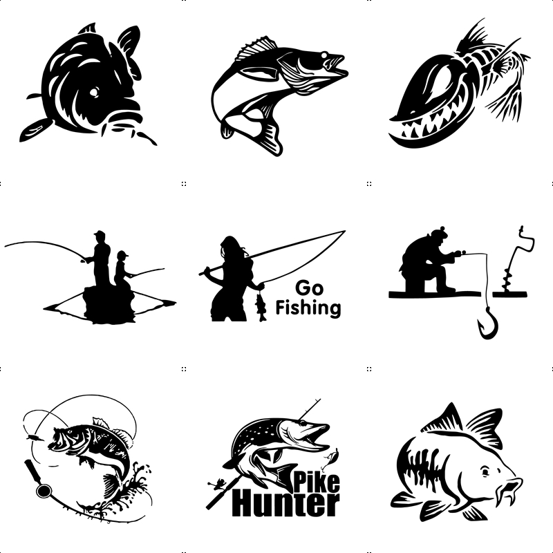 10 Styles Mad Fish And Fishing Funny Decal Car Window Decoration Vinyl Stickers Motorcycle Accessories