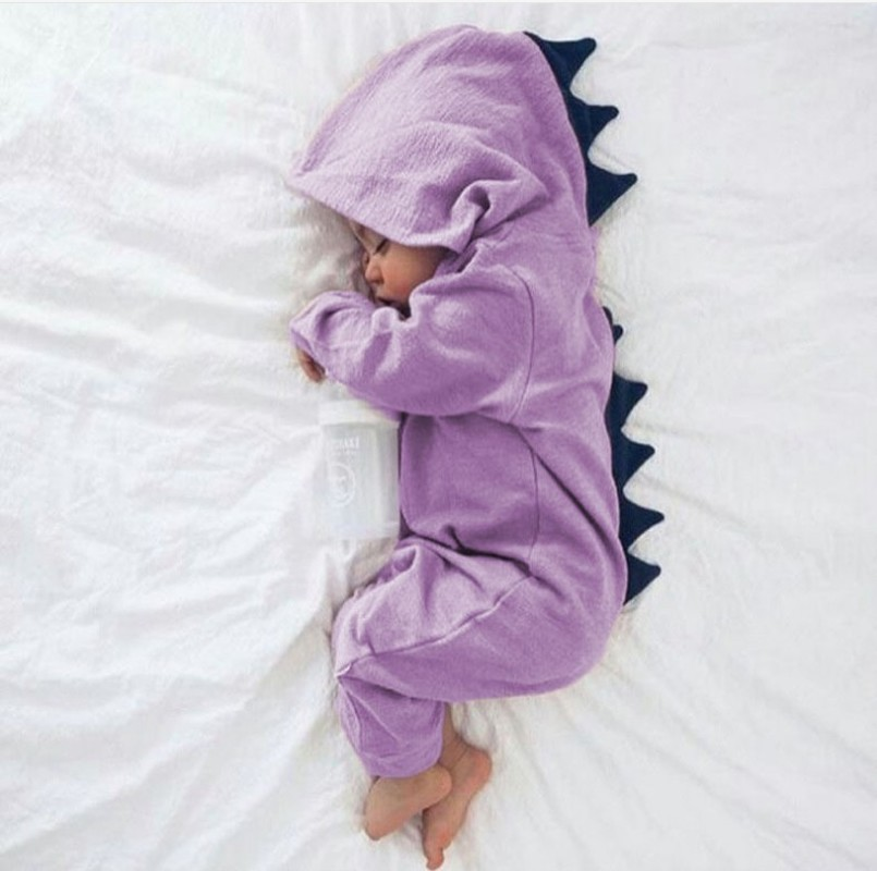 New Arrival Baby Romper Long Sleeve Cotton Hooded Dinosaur Romper Baby Warm Spring Autumn Romper Zipper Jumpsuit Baby Clothes dinstry 2018 spring and autumn newborn baby cotton long sleeve romper lion pattern