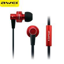 Venta caliente de la manera AWEI ES900I Metal 3.5mm Jack In-Ear Noise aislar Con Dinámica Mic Super Bass Auriculares para PC portátil estéreo