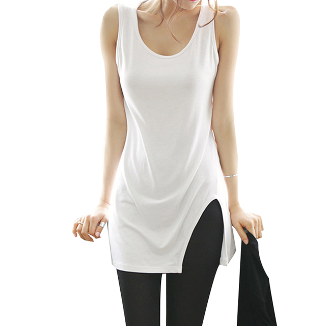 S-XL 2017 new spring summer Cotton Fashion women's clothing Long paragraph the word vest split t-shirt women dress shirt