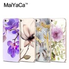 MaiYaCa phone cases flowers for iPhone 4s 5c 5s 6s 6splus 7 plus case Transparent TPU Soft Phone Case Accessories Cover