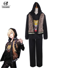 ROLECOS New Anime Yuri!!! on Ice Cosplay Costumes Yuri Plisetsk Cosplay Clothes Leopard Jacket Yurio Cosplay Costumes(China)