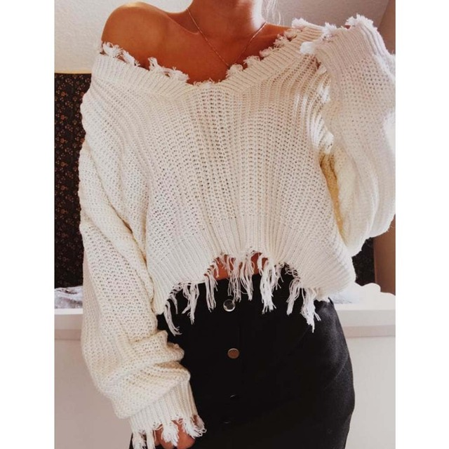 e56036178a AZULINA Knitted Sweater Autumn Women One Size Ripped V Neck Loose Sweater  Pullovers Ladies Solid Color