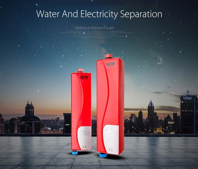 Electric Tankless Water Heater Instant Shower Household Water Heater for Kitchen Bathroom with Double Shell Water Heater Faucet