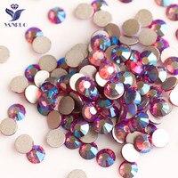 YANRUO 2058NoHF Fuchsia AB Non Hotfix Rhinestones Chain Bright Red Stones Crystal Applique For Dresses Accessories