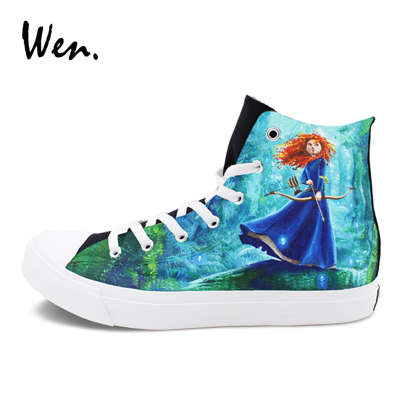 Wen Black High Top Canvas Sneakers Custom Design Brave Princess Merida Hand Painted Shoes Men Women's Graffiti Shoes wen design custom hand painted canvas fashion shoes colorful lipsticks high top shoes sneakers white graffiti shoes men women