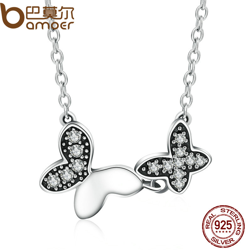 BAMOER 100 Authentic 925 Sterling Silver Dancing Butterfly Clear CZ Pendants Necklace For Women Fashion Jewelry