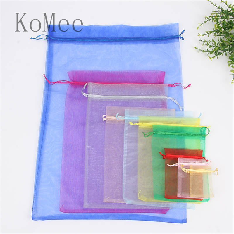 10pcs/lot 15x20 20x30 30x40cm Big Organza Bags Wedding Favor Drawstring Christmas Gift Bag Boutique Gifts Packaging Bags Pouches