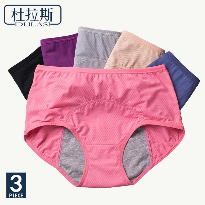 3pc Period Panties Women Leak Proof Breathable Menstrual Girl  Underwear Women Sexy Cotton Mid Waist Warm Health Briefs DULASI