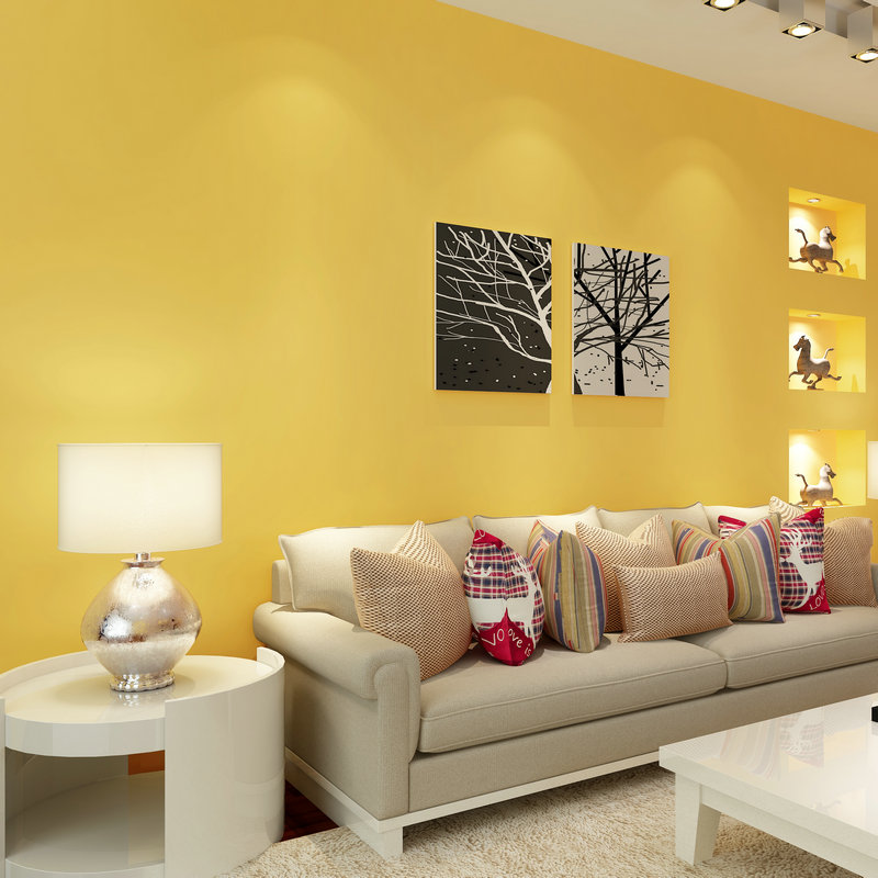 Kids Rooms Climbing Walls And Contemporary Schemes: PAYSOTA Modern Simple Solid Color Yellow Wallpaper Bedroom