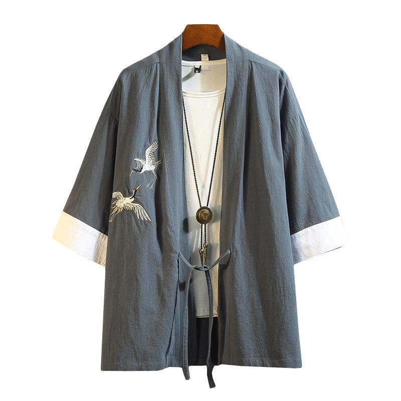 M-5XL Japanese Streetwear Kimono Shirt Men Chinese Dragon Embroiderd 3/4 Sleeve Collarless Shirts Cotton Office Wear XXXXXL