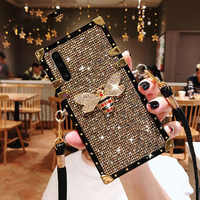 Moda remache cuadrado Bling Glitter Lanyard funda de teléfono para Huawei P30 Lite P20 Mate 20 Pro Nova 4 4e 3 funda trasera 3i 3e