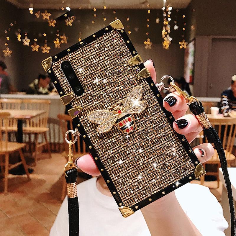 Pour Samsung Note 10 Plus étui mode paillettes étui de téléphone à lanière pour Galaxy Note 10 9 8 S10 S9 S8 Plus S10e A7 2018 couverture