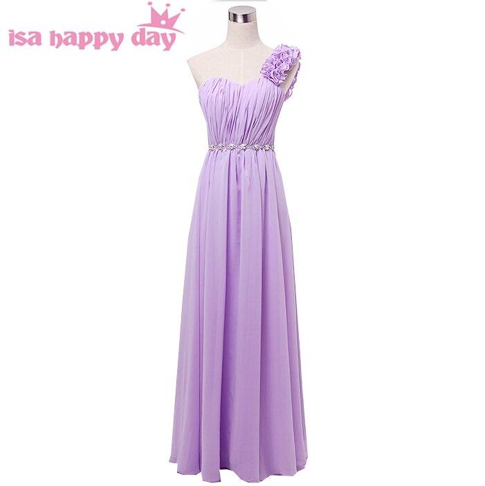 Style grec modeste une ligne robes de demoiselle d'honneur à lacets robe violet clair longue une épaule élégante ligne a pour un mariage H2742