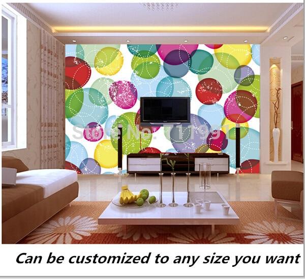 Free Shipping Custom Murals Round Bubbles Kids Pattern Modern D - Custom murals from photos