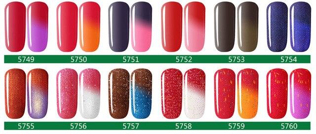Temperature Change Chameleon Changing Color Soak off UV Nail Gel Polish UV Gel 5ml choose 6 pcs