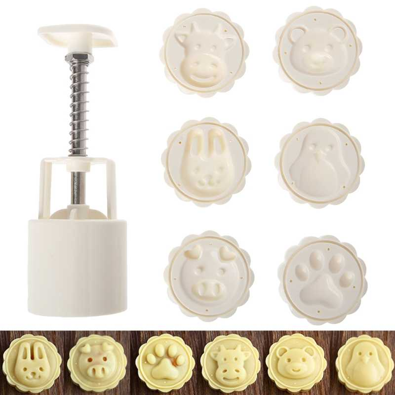 6 Animal Stamps Moon Cake Mould 3D DIY Round Mooncake Mold Baking Decor Tool 50g