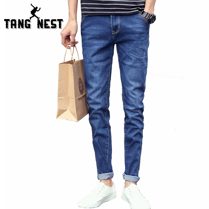 TANGNEST 2017 Men Jeans Solid Color Straight Jeans Homme Casual Fashion Mid-Waist Male Jeans Popular All-matched Size 36 MKN768 hee grand 2017 british style plus size men solid jeans full length straight mid waist comfortable male jeans mkn858