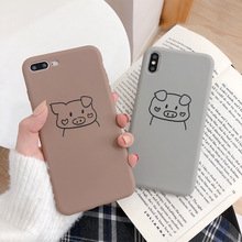 Creative cute pig head phone case for iPhone X XS XR Max 8 7 6 6S Plus anti-drop silicone protection back cover
